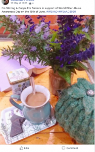 Gemma from SRV's cup of tea in a mug next to a purple book, purple flowers in a vase and teapot in a green tea cosy