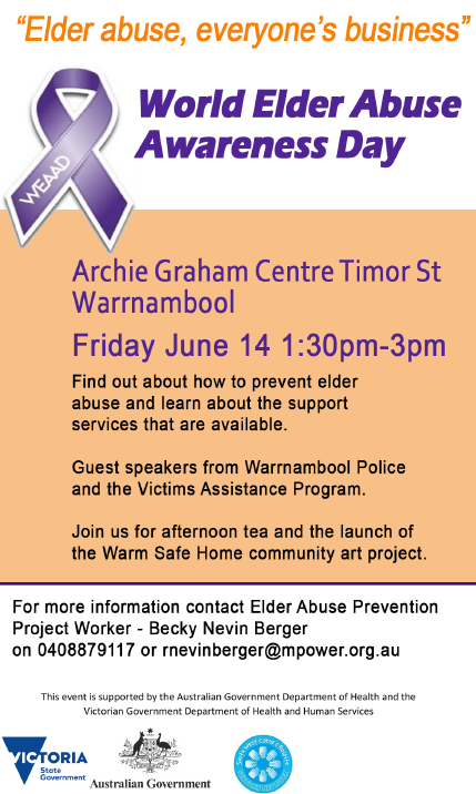 World Elder Abuse Awareness day Warrnambool Archie Graham Centre