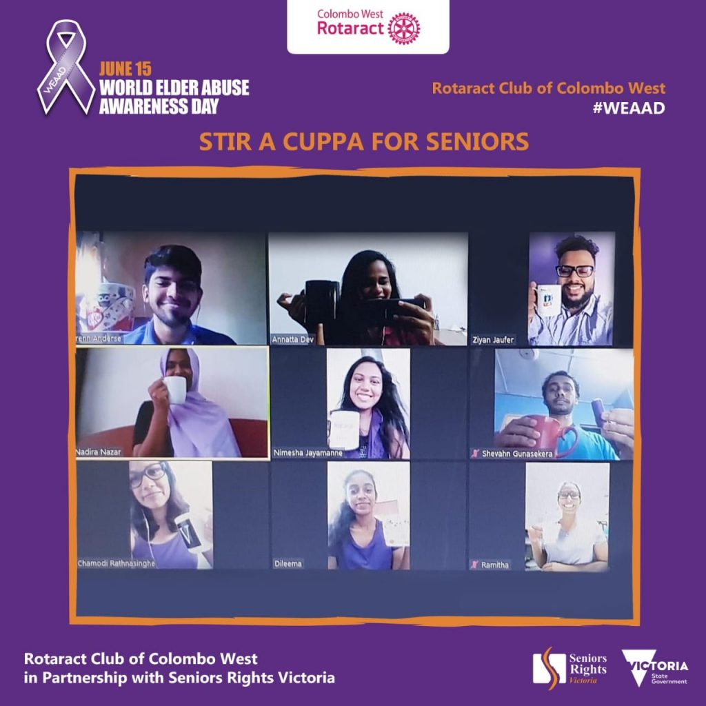 A group of people on Zoom wearing purple attending a 'Stir A Cuppa For Seniors' online zoom purple tea.