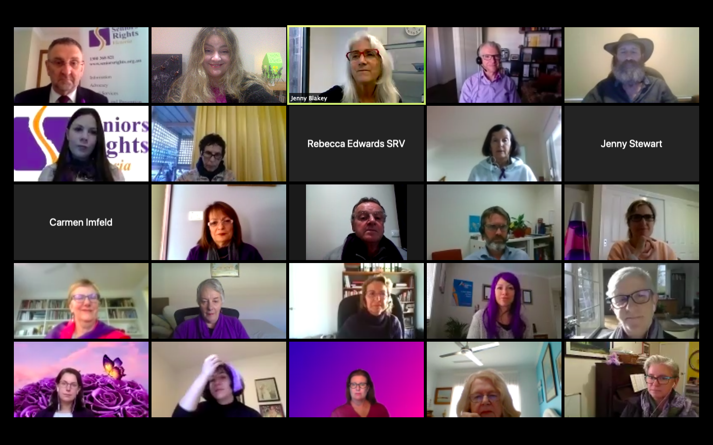 A screenshot of lots of people wearing purple items of clothing and having a cup of tea online at the Seniors Rights Victoria's Stir A Cuppa For Seniors zoom event for WEAAD 2021