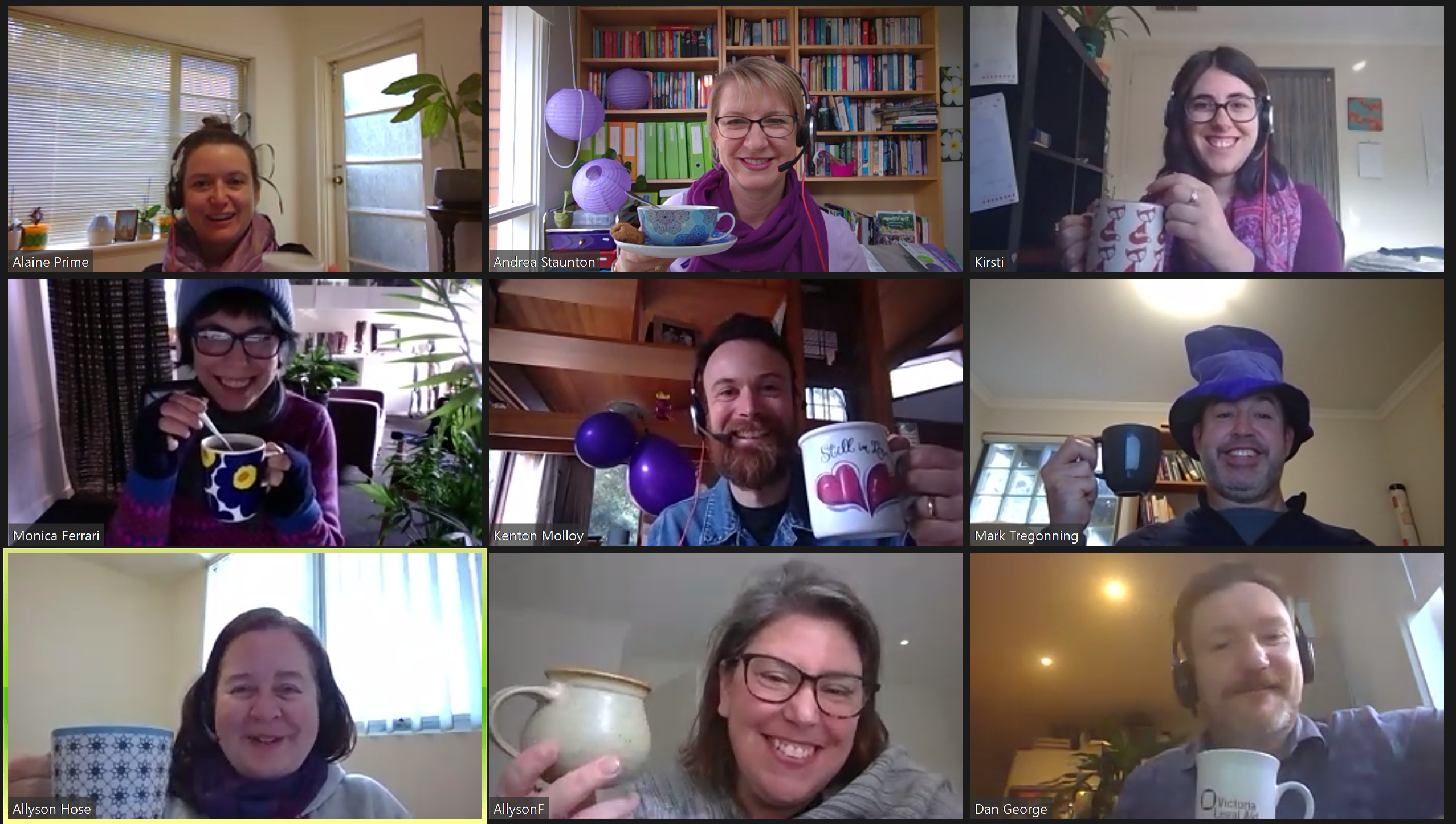 A screenshot of an online Zoom 'Stir A Cuppa For Seniors' event at VLA, with everyone wearing purple and having a cuppa.